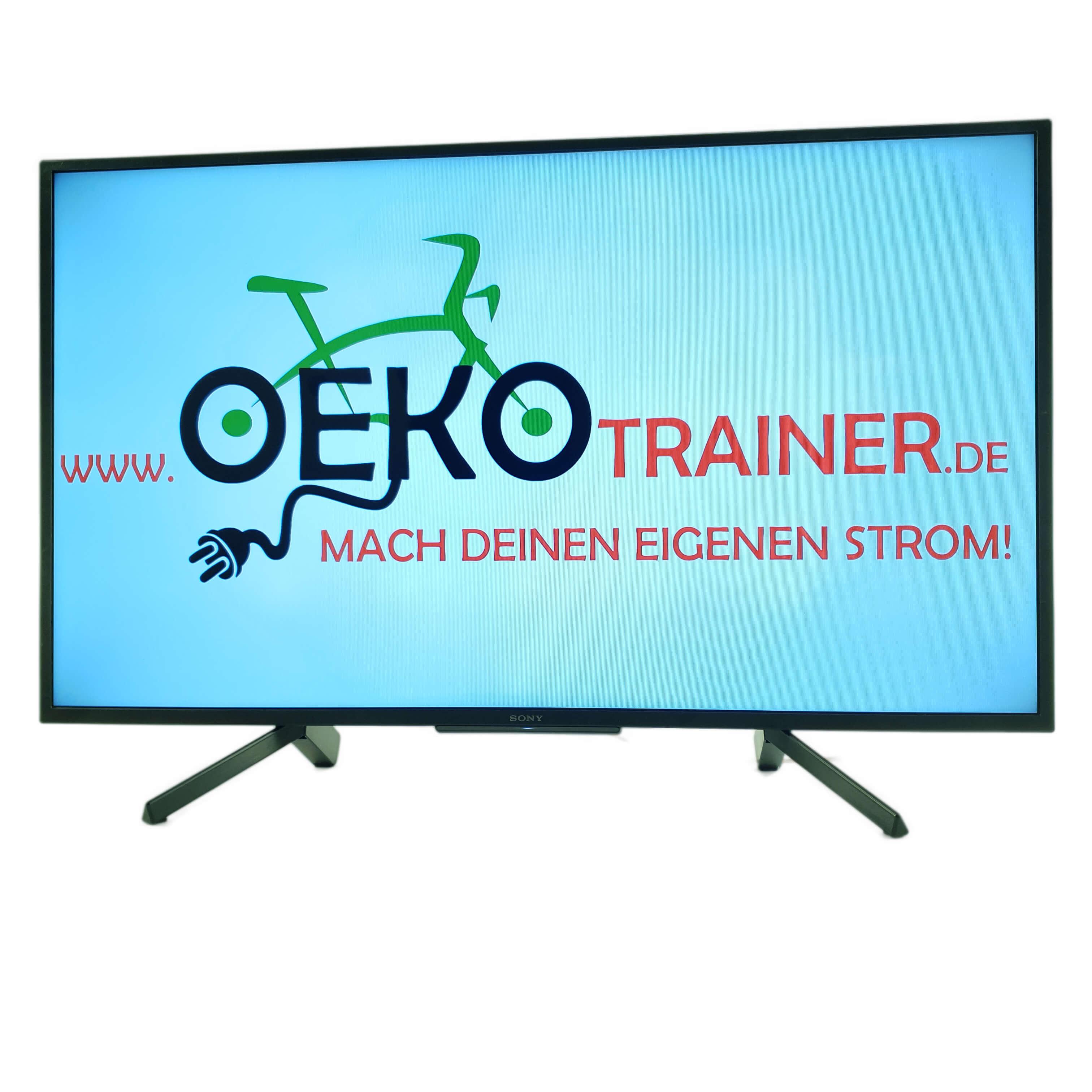 Der VideoScreen ist ein 43 Zoll (1,09 m) Flachbildschirm, der mit einem Oekotrainer betrieben werden kann.