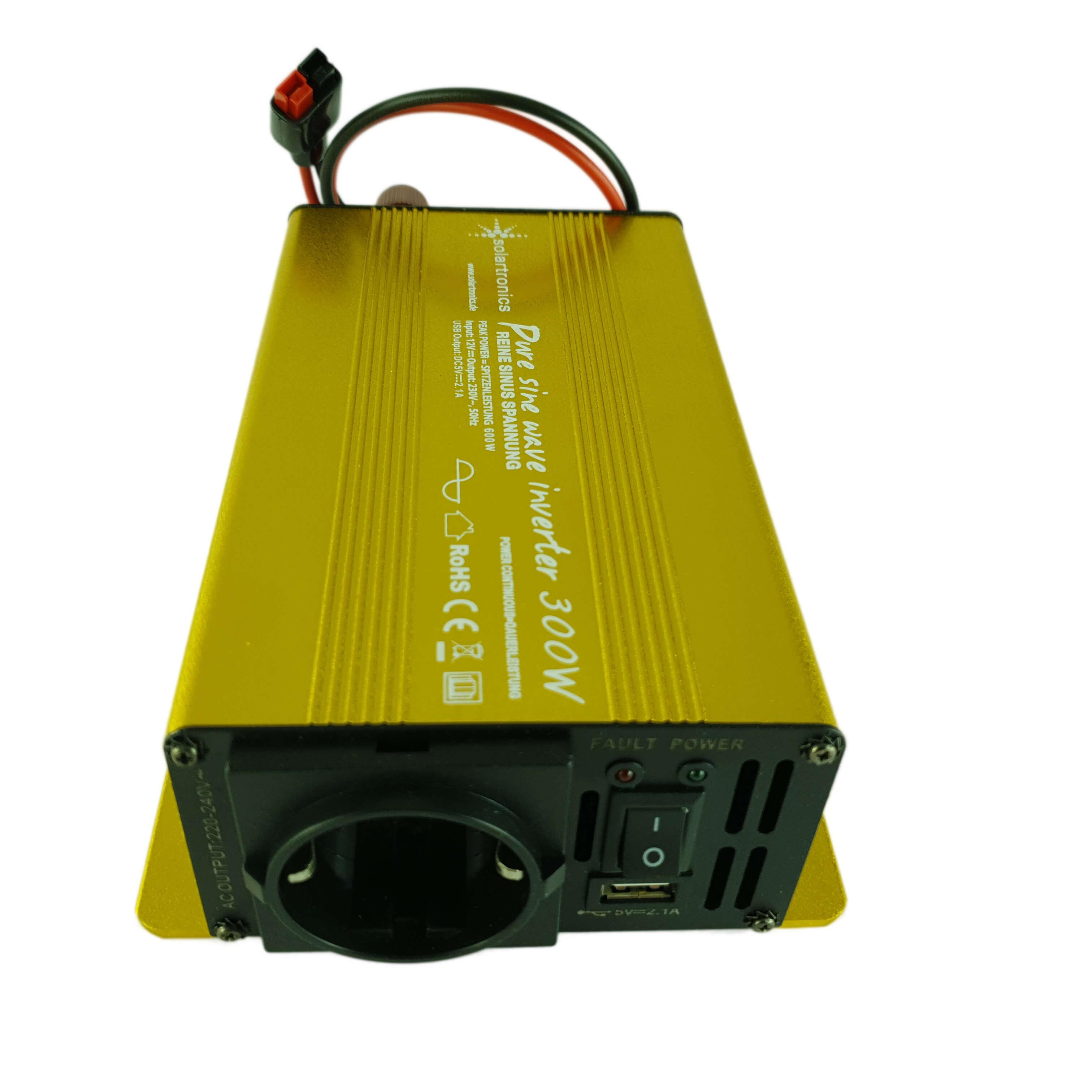 Dieser hochwertige Wechselrichter ermöglicht den Anschluss von Haushaltsgeräten (230 Volt) bis max. 250 Watt über eine übliche Haushaltssteckdose).